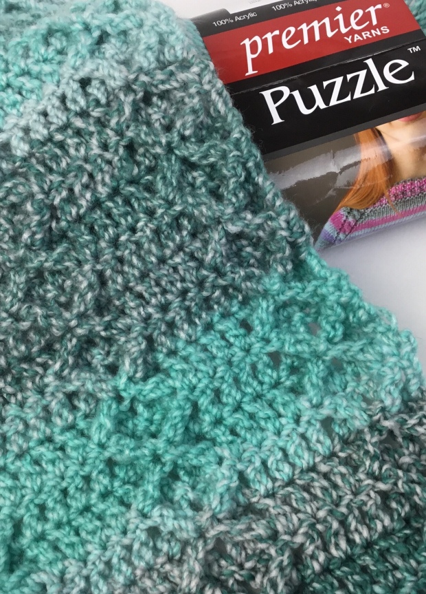 Free crochet pattern, the Rustic Diamond Scarf in Puzzle yarn from Premier. Part of the Christmas in July CAL 2018